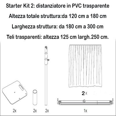 Braccio telescopico per teli in plastica trasparente per distanziamento sociale
