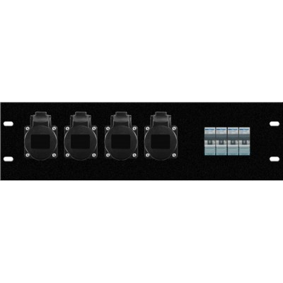 Modulo assemblato 3U rack, 4pz presa CEE 16A 3p, 4 pz interruttore 16A 4,5KA