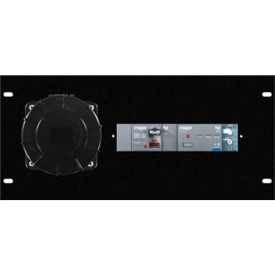 Modulo assem 5U rack, 1pz presa CEE 125A 5p, 1 pz interruttore diff 125A 18KA